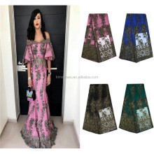 Elegant Women Dress French Net African Velvet Lace Fabric French Tulle Lace With Stones And Beads BD608-1