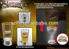 wedding favor led flashing beer cups/plastic cup light up logo projector glass