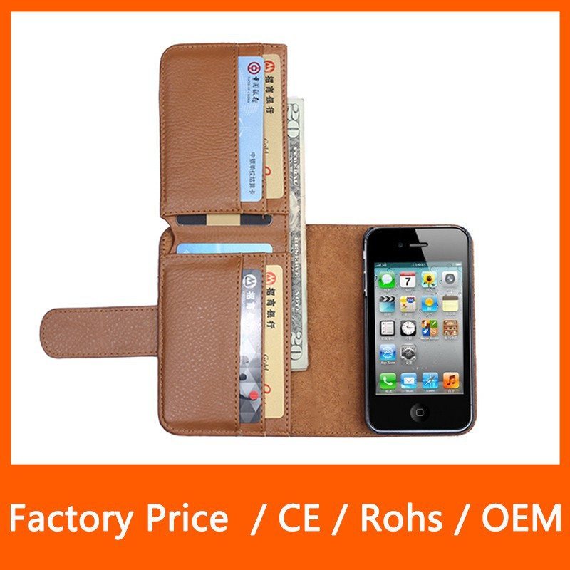 Business Style Multi Function Wallet Top PU Leather Mobile Phone Case for iPhone 4 4S