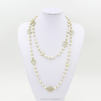 New Design Fashion Gold Heart Necklace Jewelry,Long Pearl Necklace