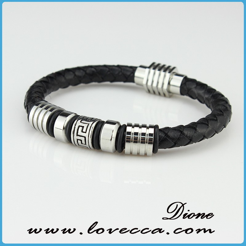 Europe Style High Quality Stainless Steel Thin Leather Bracelet Teen Braided Leather Bracelet