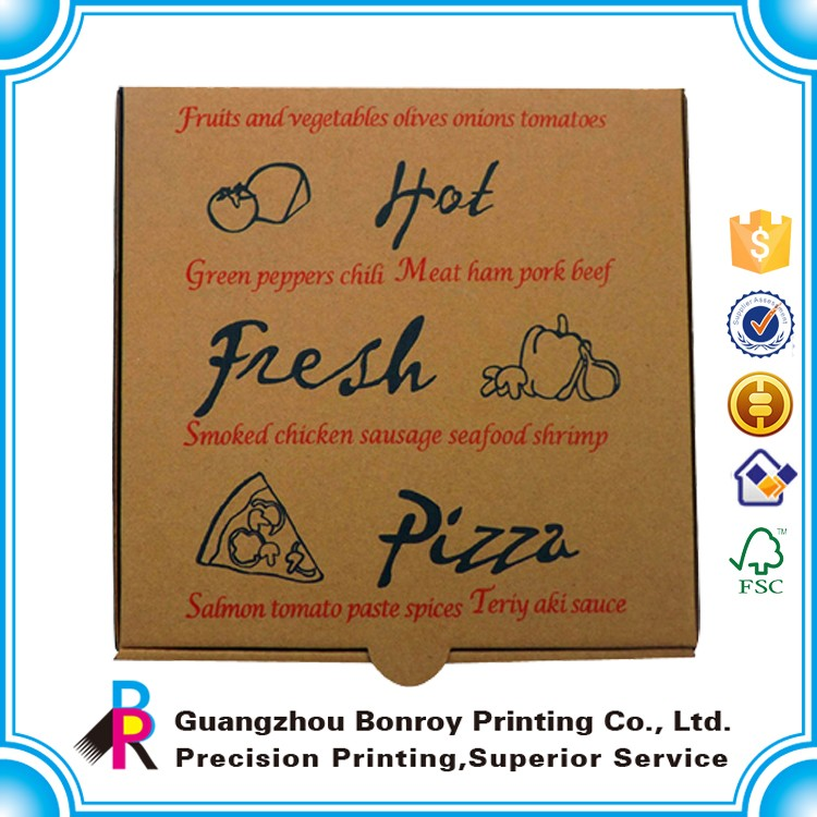 Custom Kraft Plain Paper Cardboard Delivery Box Pizza