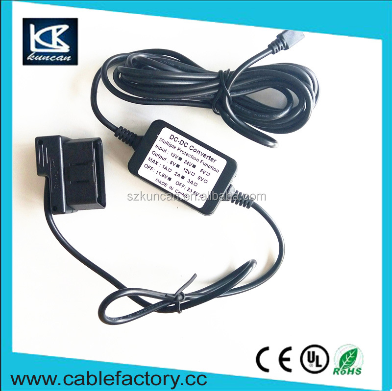 Newest products OBD II voltage step- down cable charging cable for car recorder