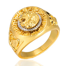 Pure Gold Jewelry Lion Head Gold Ring Jewelry Men's Punk Style Hip Hop Ring