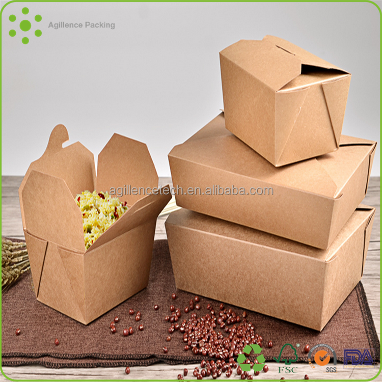 2015 18oz Food Rice Western Popular Take Away Bio-degradable Kraft Paper Foldable Lunch Box