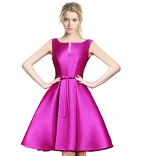 Fashion women party clothes satin pink princess wedding lady dresse