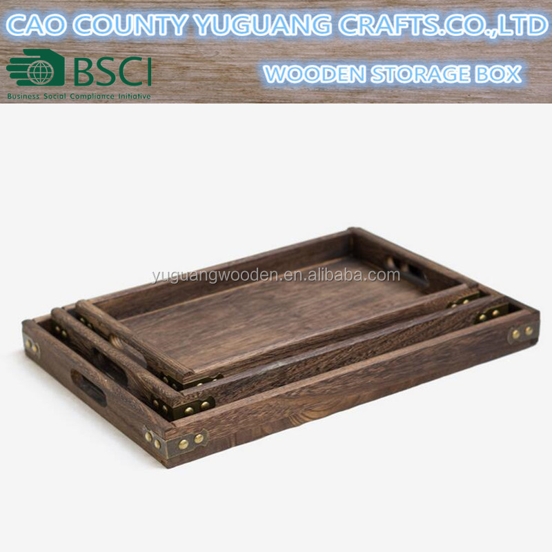 Brown Rectangle Wooden Serving Tray with metal corner