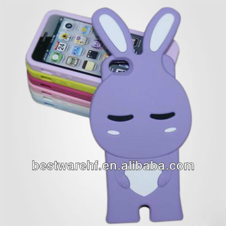 New silicone case with rabbit shape for iphone rabbit shaped mobile phone case cover/bag for iphone5
