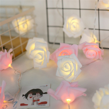 battery operated led string light white rose flower wedding party favors