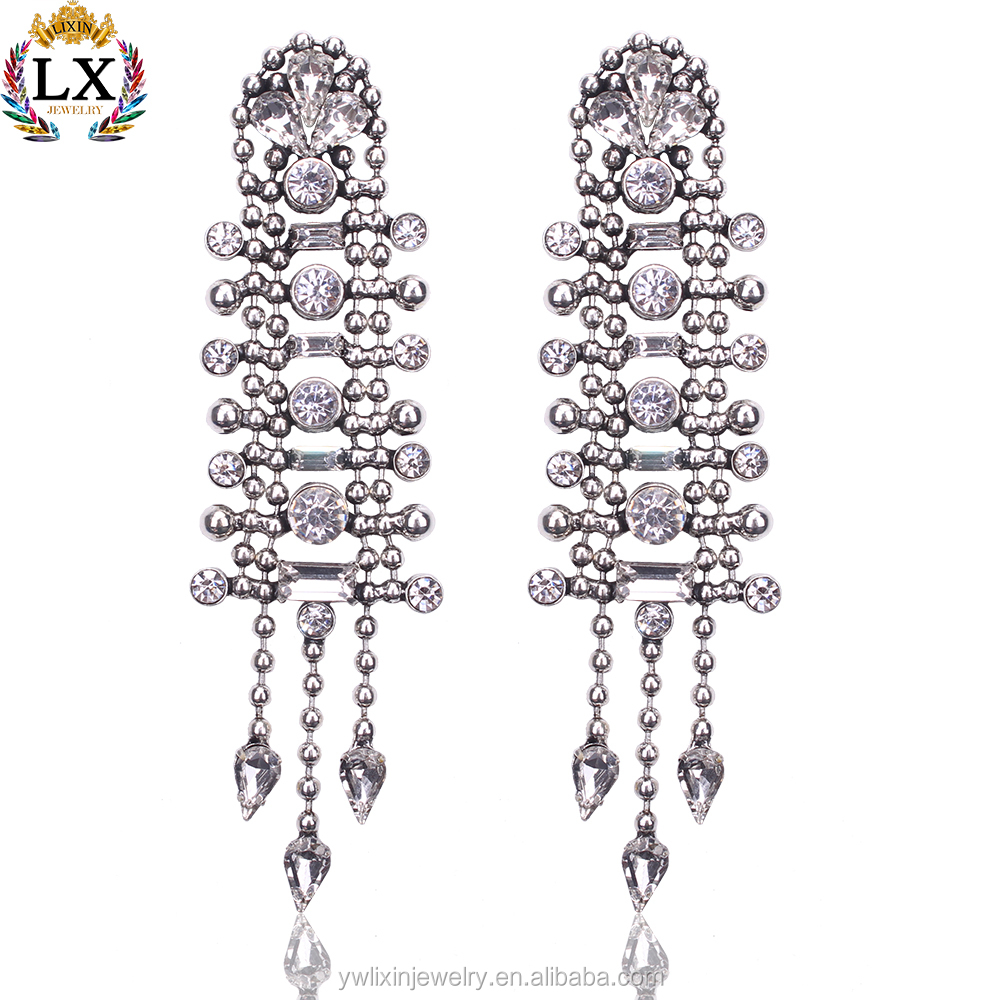ELX-00164 latest crystal stud earrings superstar accessories earrings long earrings silver women jewelry