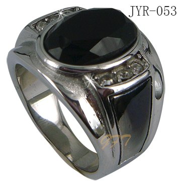 Wholesale men`s 316l stainless steel black onyx ring
