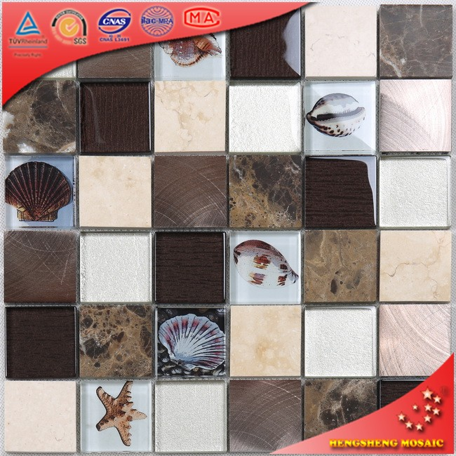 HUV17 Building Material Irregular Shape Tile Parquet Glass Mosaic Garden Paving Tiles