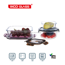 borosilicate glass baby food storage of multi color