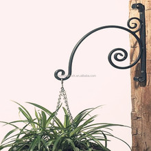 wrought iron wall mounted hanging flower holder metal stand for plant metal hanging plant stand