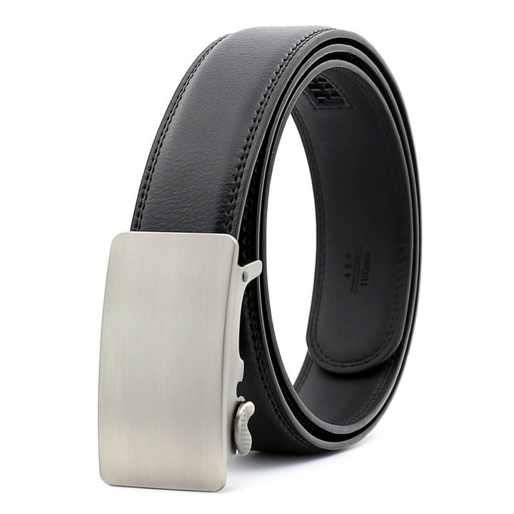 Brushed Solid Auto Buckle Men's Superior Leather Dress Belt