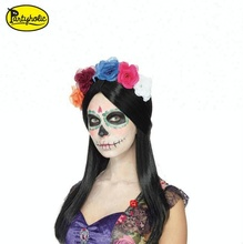 Inexpensive wigs online Halloween Party Women Synthetic Day of the Dead Wig flower wig