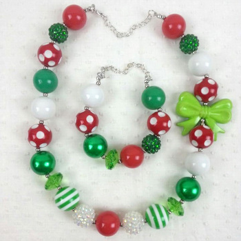 red green and white baby girl chunky nekclace for christmas day green bow necklace for you little girl