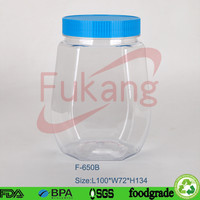 china supply 650cc with screw lids octagonal plastic food storage containers