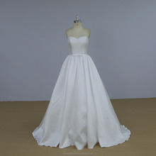 Strapless white color ball gown mikado wedding dress bridal gown