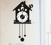Big Tall Black DIY Decorative Wall Clock Sticker with Removable Glue