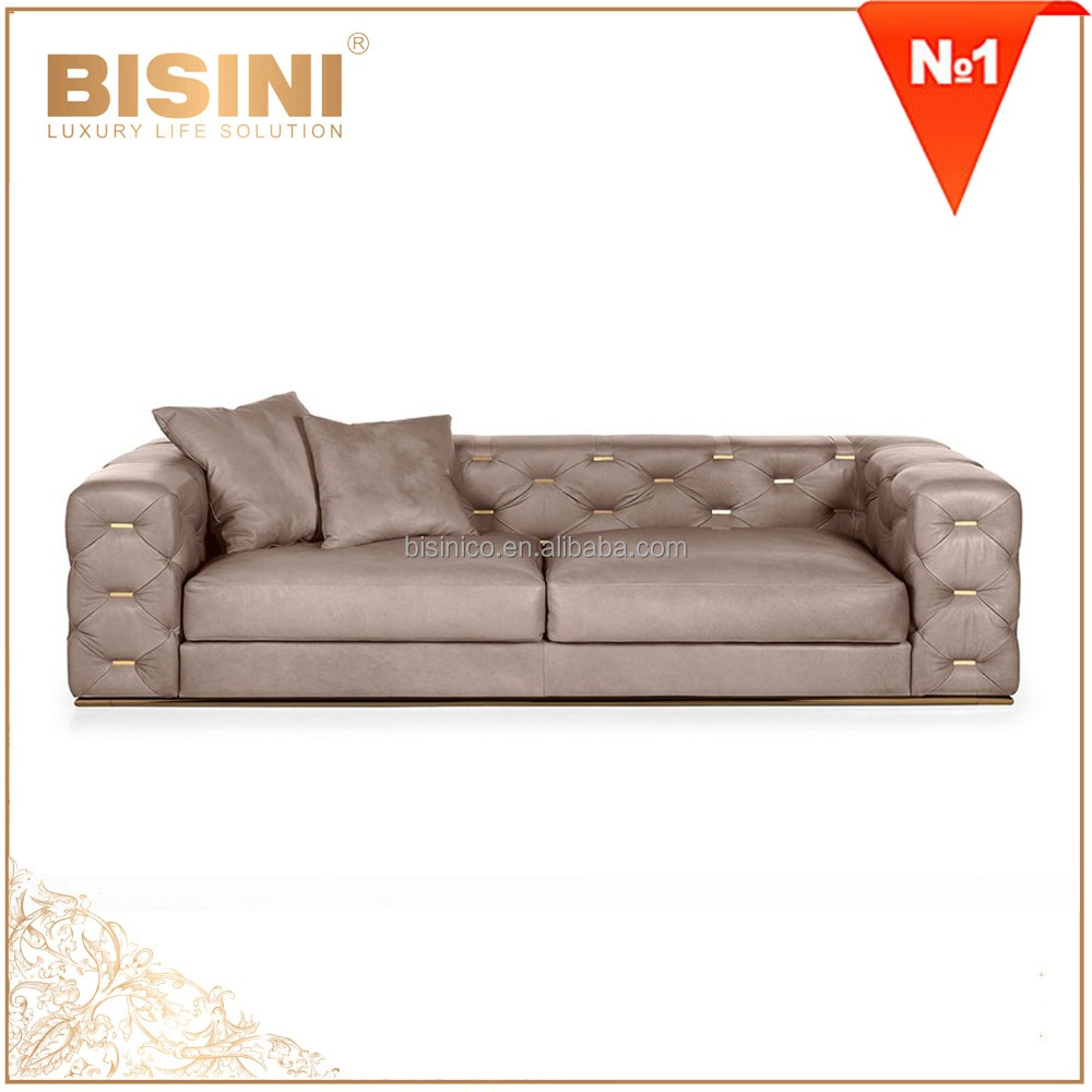 Italy Latest Design Comfortable Genuine Leather Living Room Sofa Set/ Chesterfiled Button Tufted Beige Three Seats Sofa Couch