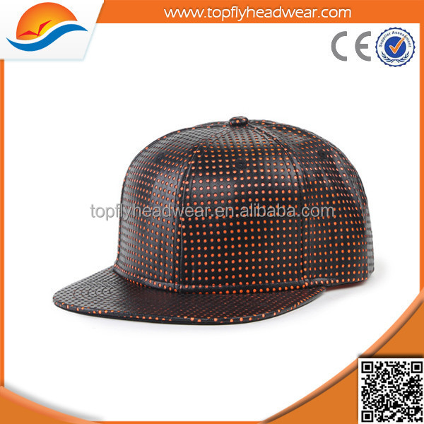 Custom Blank Perforated Leather Snapback Cap Wholesale