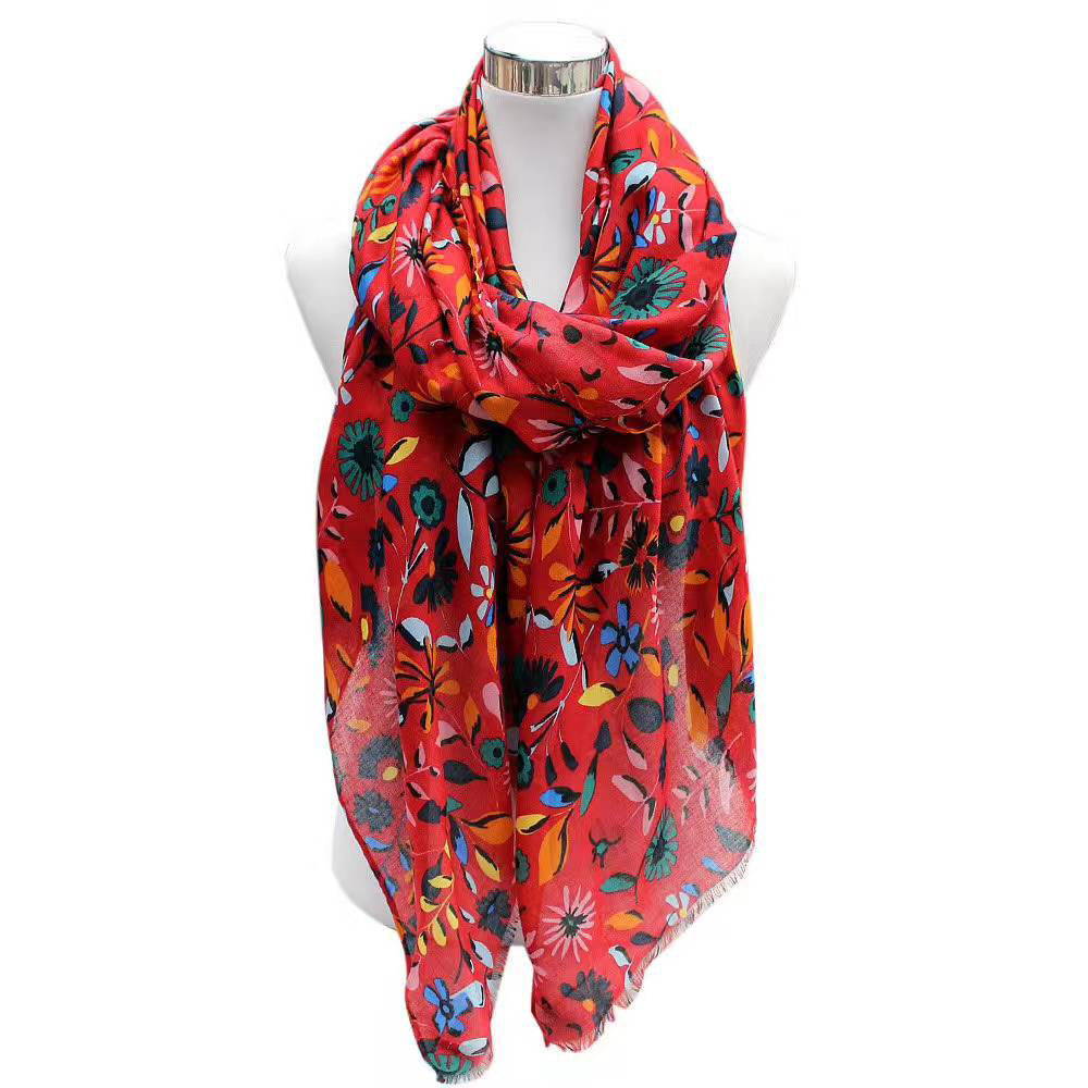 Fashion sun flower scarf young woman favorite high desity voile scarf