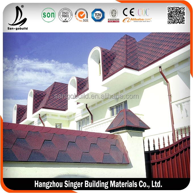 Hot sale hexagonal asphalt shingle, high quality red asphalt shingles prices