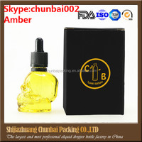 empty e-liquid dropper bottles 60ml skull shape frosted black packaging box for e-liquid dropper bottles glass