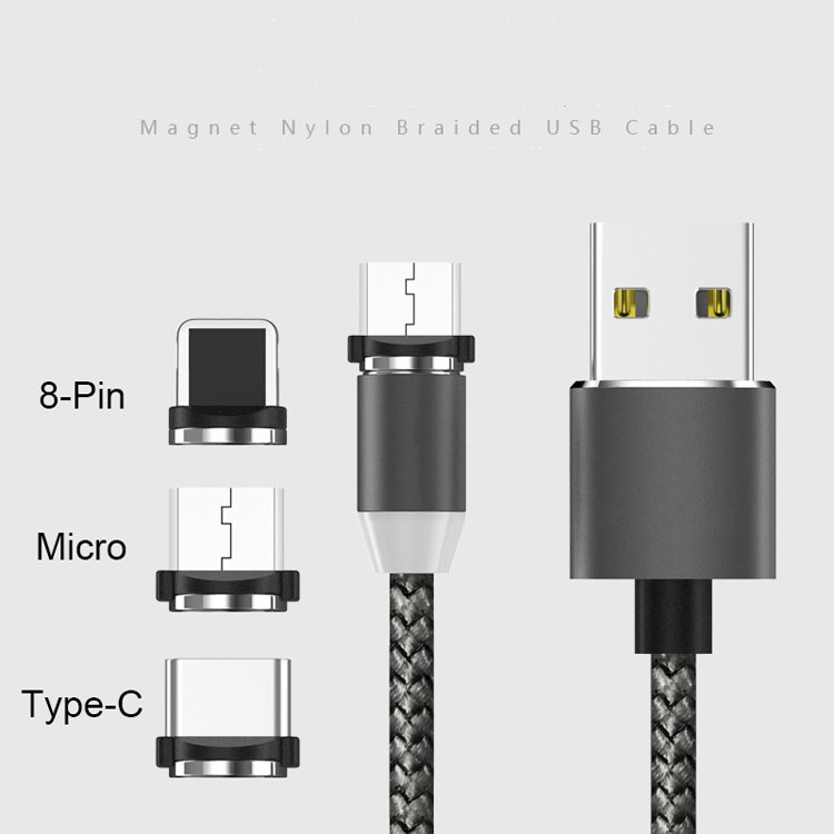 Fashion Magnetic Nylon Braided USB Cable 1m Fast Charging Cable with Magnetic for iphone Type C and Micro USB Port
