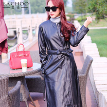 Elegant korea style ladies fitting style long real leather coat with belt