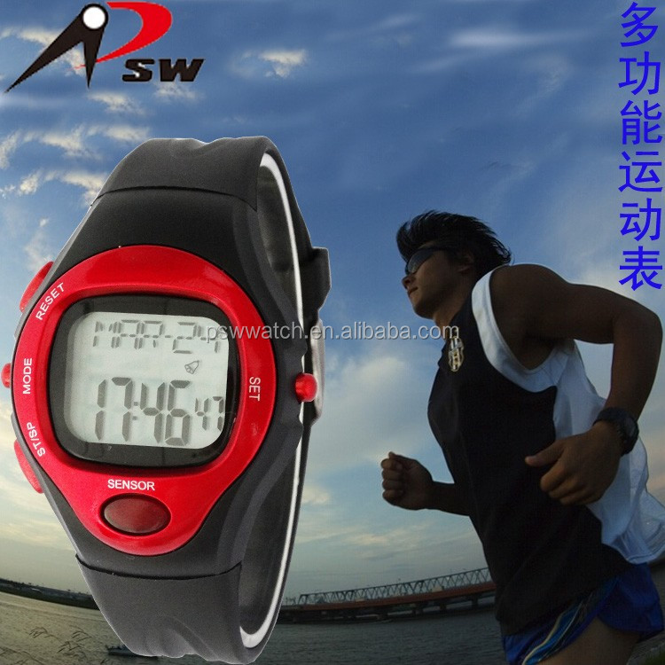 Multi function sport watch accept heart rate monitor silicone rubber watches