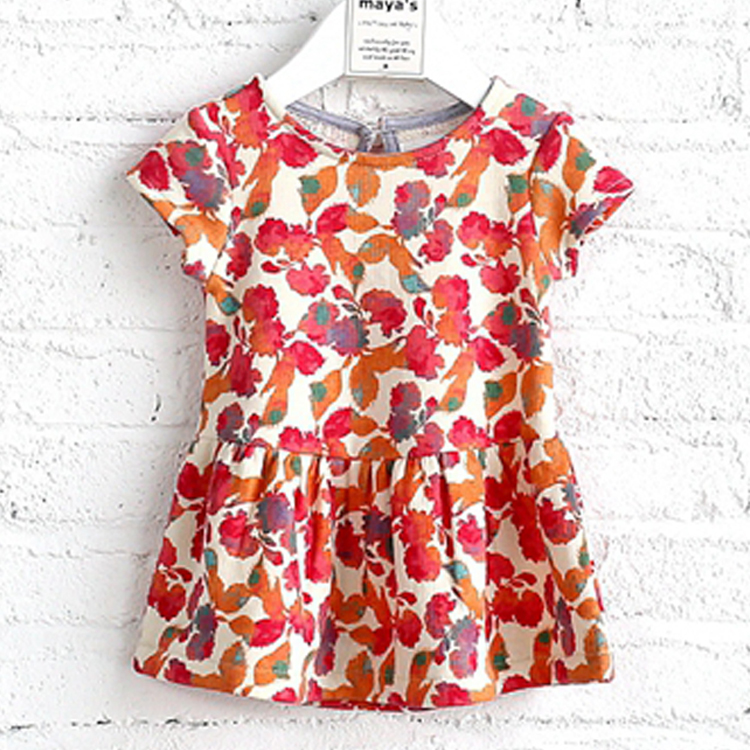 New Style Colorful Print Frock Design Lovely Girls Children Dresses