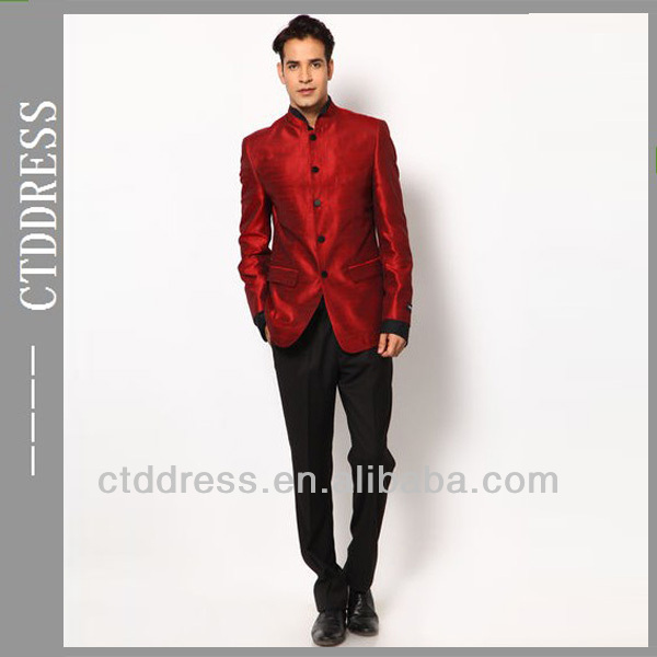 Free Shipping Custom made 2014 stand-up collar red jacket and black pants Custom groom red suit