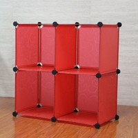 Red color portable tool box including 16pcs panels and 18pcs connector(FH-AL0016)