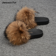 2018 New Real Raccoon Fur Slippers Women Fashion Style Slides Spring Autumn Winter Indoor Flip Flops Flat Fur Sandals
