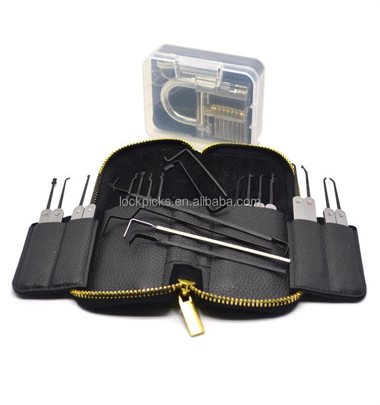 HOT !!! 22PCS Stainless Steel Lock Pick Kit Auto Lock Pick Set With Padlock & Leather Case [AML020234]