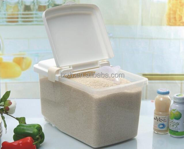 plastic airtight rice storage container with wheel and handle