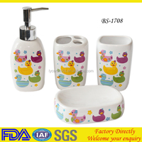 Decal ceramic cute bathroom sets for decoration