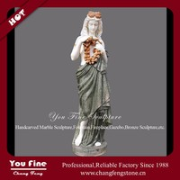 Hand Carved Garden Marble Flower Girl Staue