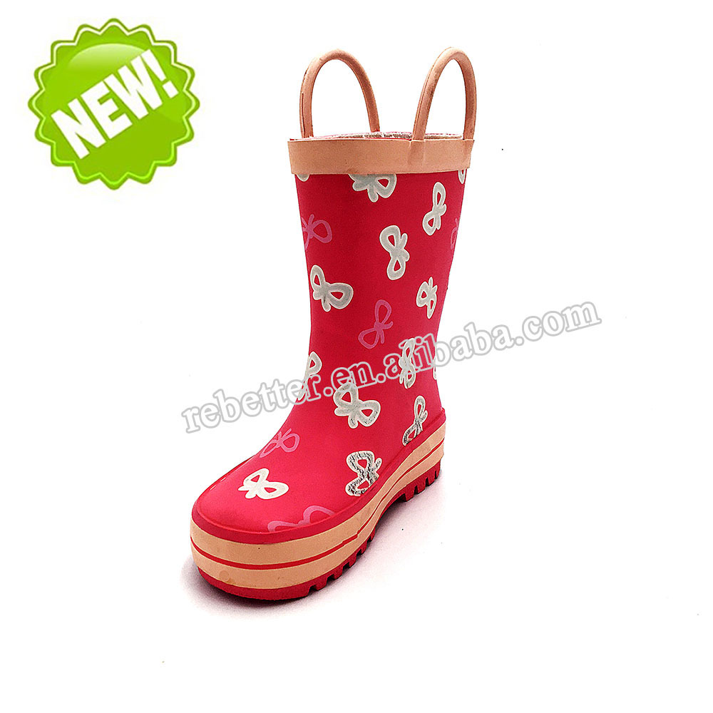 2017 good quality wholesale china red children rain boots soft rubber bottom rubber shoes