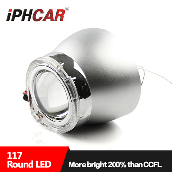 IPHCAR 3.0inch Crystal LED DRL Hid Xenon Kit Headlight with D2S Hid Xenon Projector Lens