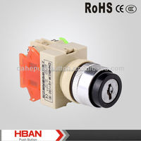 TUV ISO ROHS Y090-11Y Series 22mm light bulb symbol,10A 600 V electrical Switch,round plastic Key switch