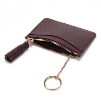Custom leather coin purse keyring credit card holder wallet with tassel