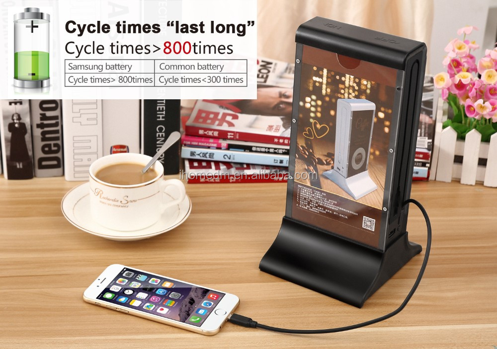 2018 Latest New Design 20800mah restaurant advertising mobile phone charger with Menu Holder in hot sale
