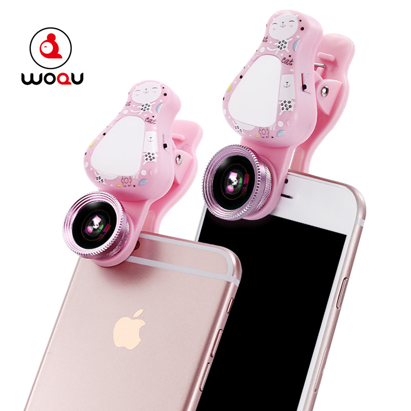 WQ-<strong>09</strong> <strong>3</strong> in 1 Universal Mobile Phone Lens Fish Eye + Macro + flash light with cute cartoon pattern
