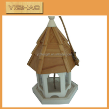 Eco-friendly FSC Hanging Wooden Bird Cage,bird cage with outside feeder