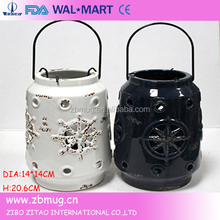anchor ships wheel white ceramic lantern with solar disc