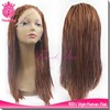 short brown heavy density micro braided wig synthetic lace front wig