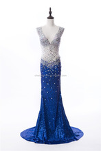Hot Sale See Through Evening Dress Sexy V-neck Sequins Crystal Evening Dress Backless Long Party Dress